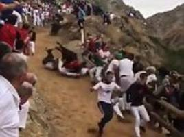 Eight men crushed by out of control bull during bull-running festival in Spain