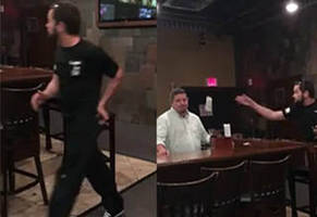 idiot throws so much cash at the bartender that's kicking him out