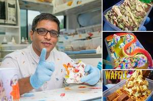 mr tee 'king of desserts' is in somerset today for a cool treat - this is where he is