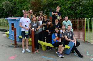 kind-hearted teenagers give up their summer break to rejuvenate primary school's playground