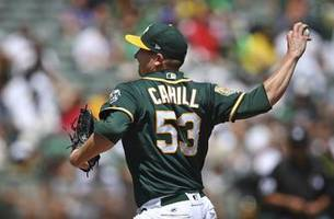 Cahill sharp, A's beat Astros 7-1 to tie for AL West lead