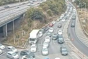 M25 and A12 traffic as broken down lorry still causing delays five hours later