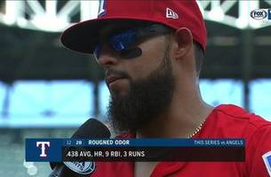 rougned odor provided the 3-run home run to help defeat la 4-2