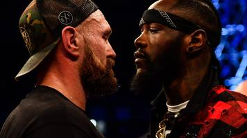 tyson fury and deontay wilder face off in ring after briton beats francesco pianeta