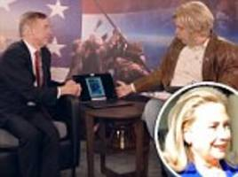 sacha baron cohen who is america?  tries to convince howard dean hillary clinton man in penis photo