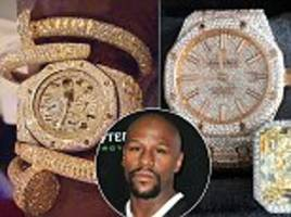 floyd mayweather shows off stunning diamond encrusted watches