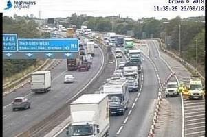 M42 closed after car smashes into central reservation