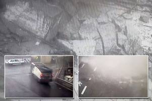genoa bridge collapse that killed 43 caught on cctv from ground below in terrifying footage
