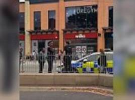 Traffic warden gives a police car a ticket as officers help a 'vulnerable' man in shopping centre