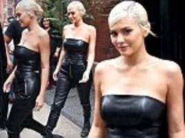 Kylie Jenner is smiles in sexy black leather two-piece outfit in NYC hours after Nicki Minaj diss