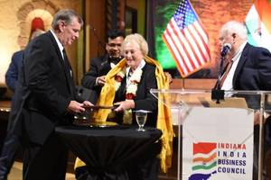 christel dehaan honored at inaugural indiana india business council gala