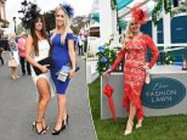 female guests arrive for ladies day at york races