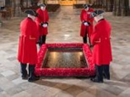 poignant moment four retired soldiers surround the tomb of the unknown warrior
