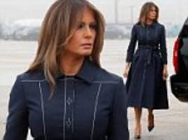 melania trump looks chic in navy as she and donald fly to pennsylvania for 9/11 remembrance address