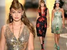 gigi hadid joins sister bella in shimmery sheer frock as she opens the anna sui runway show at nyfw