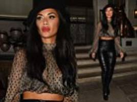 nicole scherzinger shows off her stomach in high-waisted leather trousers
