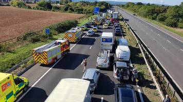 taunton m5 crash was 'collision between lorry and queuing cars'