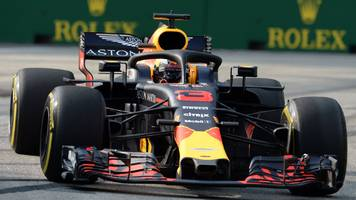 ricciardo fastest in singapore first practice as leclerc hits wall