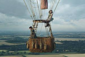 up, up and away again: helicopter and hot-air balloon back in skies for filming of amazon movie
