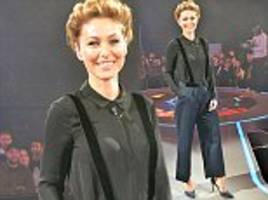 big brother: emma willis looks sharp in a matching black blouse and braces