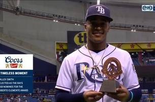 mallex smith receives rays' roberto clemente award for his work in the tampa bay community