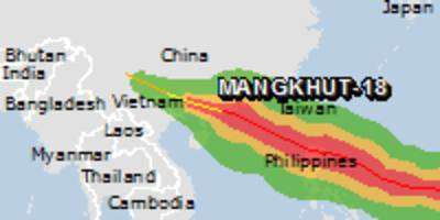 red alert for tropical cyclone mangkhut-18. population affected by category 1 (120 km/h) wind speeds or higher is 3.772 million.