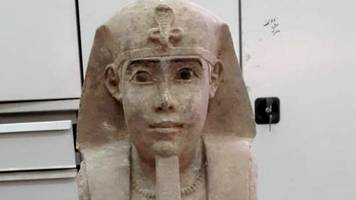egyptian archaeologists find sphinx at aswan temple