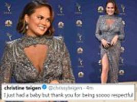 Chrissy Teigen hits back at cruel body-shamer who asked if she is pregnant at Emmy Awards