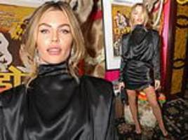 abbey clancy leads the glamour in retro-looking mini dress at love magazine's tenth party