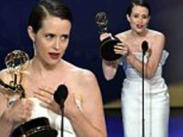 claire foy fights tears as she wins first emmy award for the crown