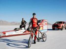 female cyclist becomes the fastest person in the world to ride a bicycle when she reaches 183mph