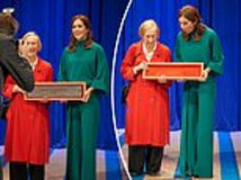 mary of denmark drops a prize while presenting a design award