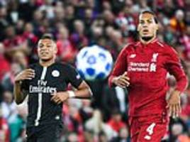 virgil van dijk was quickest on the pitch during liverpool vs psg as he ran faster than mbappe
