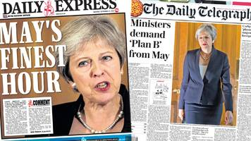 newspaper headlines: 'defiant' may gives brexit 'ultimatum'