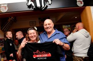 grimsby town players and fans come together to celebrate 140th anniversary