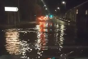 Road in Pontypridd left looking like river after storm floods road