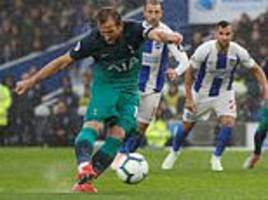 brighton 1-2 tottenham: harry kane ends goal drought as he scores from the penalty spot