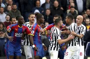palace's wan-bissaka struck by bottle in newcastle draw