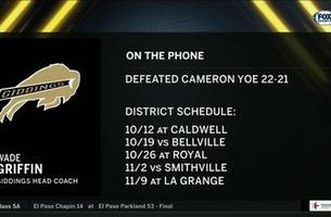 Head Coach of Undefeated Cameron Yoe - Wade Griffin | High School Scoreboard Live