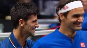 laver cup: novak djokovic hits ball into doubles partner roger federer mid-rally