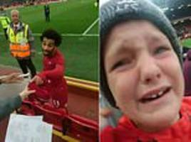 mohamed salah leaves young fan in tears as liverpool star hands match worn shirt