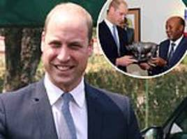 prince william is presented with a rhino statue as he arrives in namibia