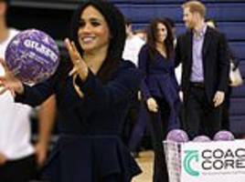 meghan markle and harry meet young sports coaches at awards ceremony