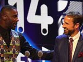 idris elba steals the show by donning waistcoat emblazoned with dozens of gareth southgates on it