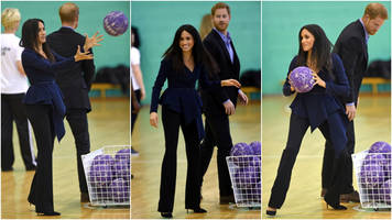 meghan and harry go head-to-head in netball shootout