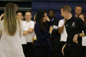 first pictures of meghan markle on visit with prince harry to loughborough university