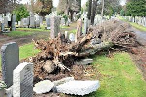 storm ali damages dumbarton cemetery