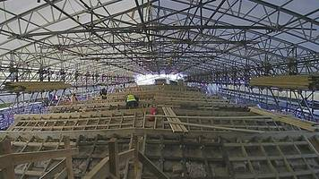 time-lapse footage of historic mill's new roof