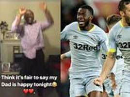 Father of Chelsea loanee Fikayo Tomori goes mad celebrating his son's Derby side beating Man United
