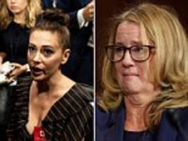 celebrities alyssa milano, ellen degeneres and mia farrow stand in solidarity with dr christine ford
